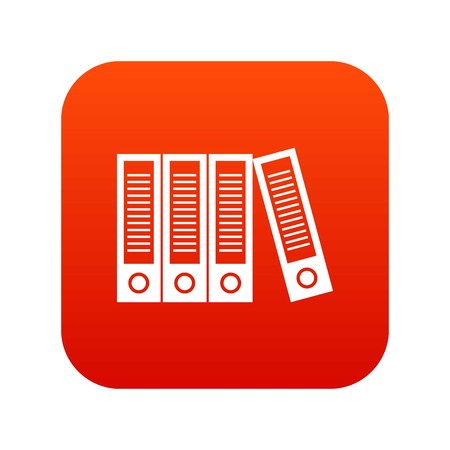 Office folders icon digital red for any design isolated on white vector illustration