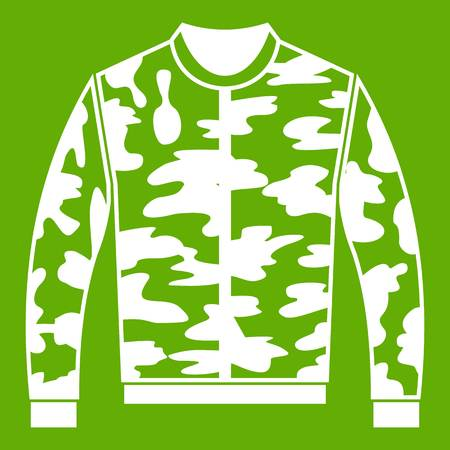 Camouflage jacket icon white isolated on green background. Vector illustration