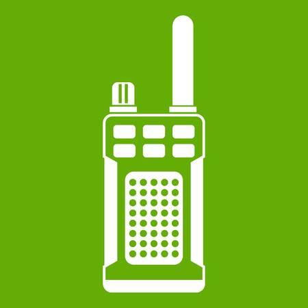 Portable handheld radio icon white isolated on green background. Vector illustration