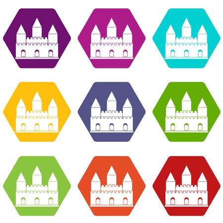Castle tower icon set color hexahedron
