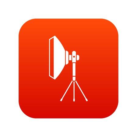 Studio lighting equipment icon digital red Illustration