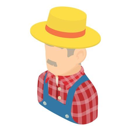 Farmer man icon, isometric 3d style
