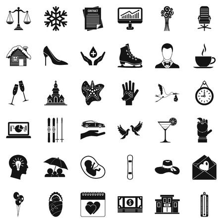 Holiday icons set, simple style Illustration