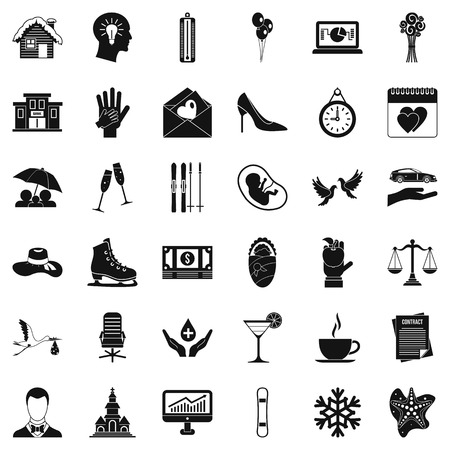 Happiness icons set, simple style Illustration