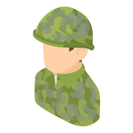 Military man icon, isometric 3d style