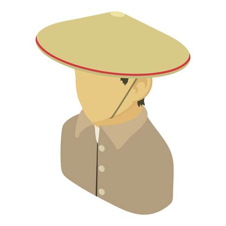 Farmer man asian icon, isometric 3d style