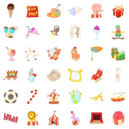 Party icons set, cartoon style Illustration