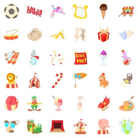 Celebration icons set, cartoon style