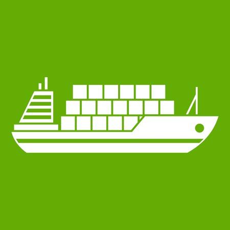 Cargo ship icon green Illustration