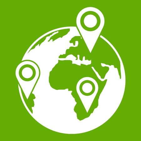 Globe of network icon green