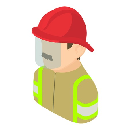 Firefighter man icon, isometric 3d style