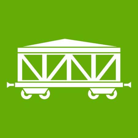 Train cargo wagon icon green