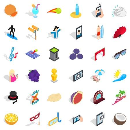 Joy icons set. Isometric style of 36 joy vector icons for web isolated on white background