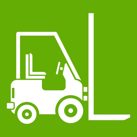 Stacker loader icon white isolated on green background. Vector illustration Иллюстрация