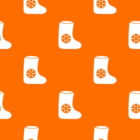 Felt boots pattern repeat seamless in orange color for any design. Vector geometric illustration