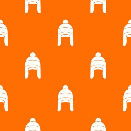 Winter hat pattern repeat seamless in orange color for any design. Vector geometric illustration Illustration
