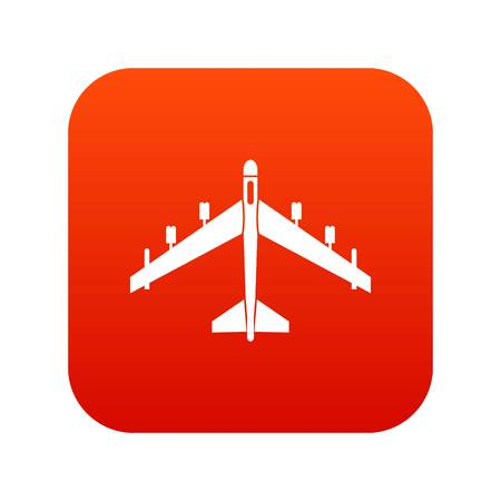Armed fighter jet icon digital red