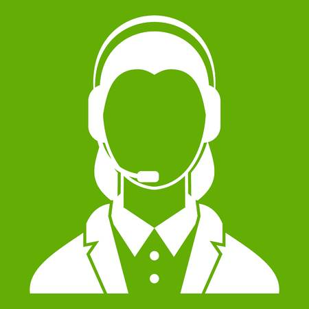 Support phone operator in headset icon green