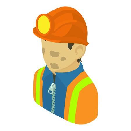 Miner man asian icon, isometric 3d style Illustration