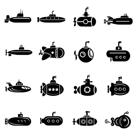 Submarine icons set. Simple illustration of submarine vector icons for web