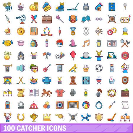 100 catcher icons set, cartoon style Illustration