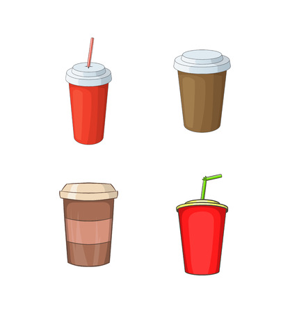 Plastic cup icon set, cartoon style Çizim