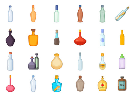 Bottle icon set, cartoon style