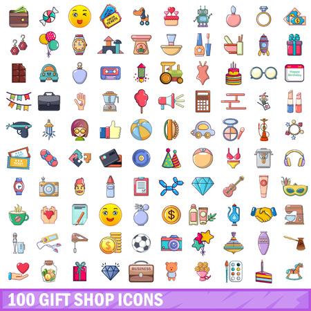 Gift shop icons set, cartoon style