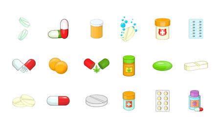 Pills icon set, cartoon style