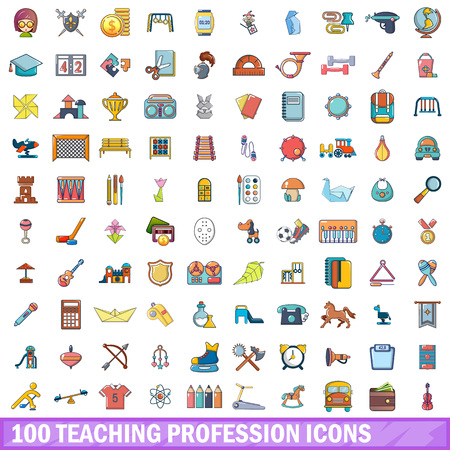 Teaching profession icons set, cartoon style Illustration