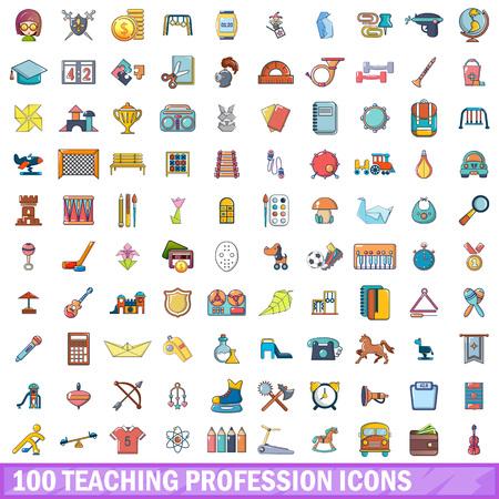 Teaching profession icons set, cartoon style Иллюстрация