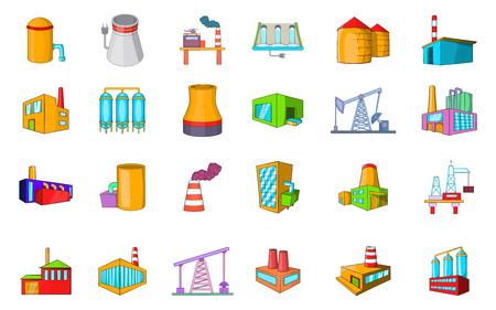 Factory icon set, cartoon style