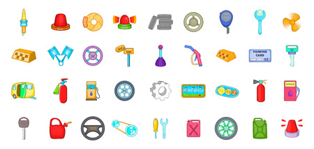 Car parts icon set, cartoon style  イラスト・ベクター素材