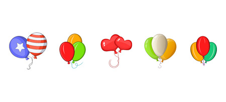 Ballons icon set, cartoon style Illustration