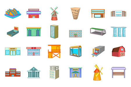 Building icon set, cartoon style