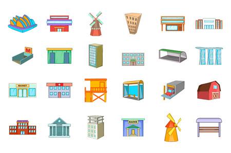 Building icon set, cartoon style