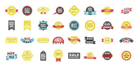 Sale badge icon set, cartoon style