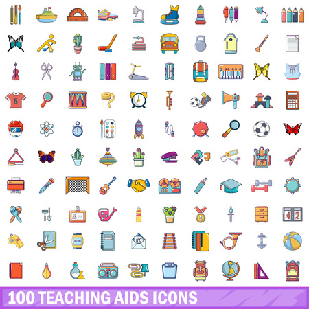 100 teaching aids icons set. Cartoon illustration of 100 teaching aids vector icons isolated on white background Vectores