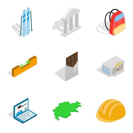 Activity icons set. Isometric set of 9 activity vector icons for web isolated on white background Illustration