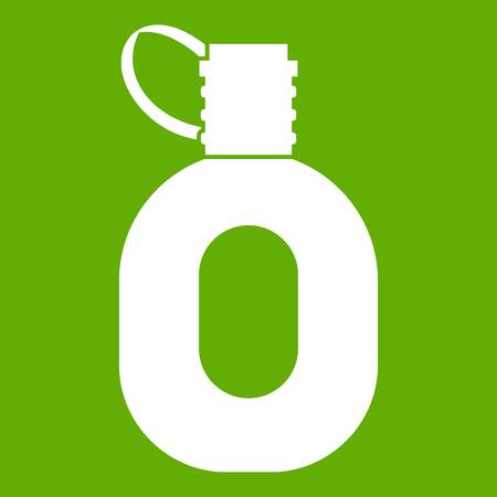 Tourist flask icon white isolated on green background. Vector illustration.