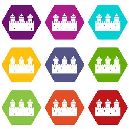 Medieval wall and towers icon set many color hexahedron isolated on white vector illustration