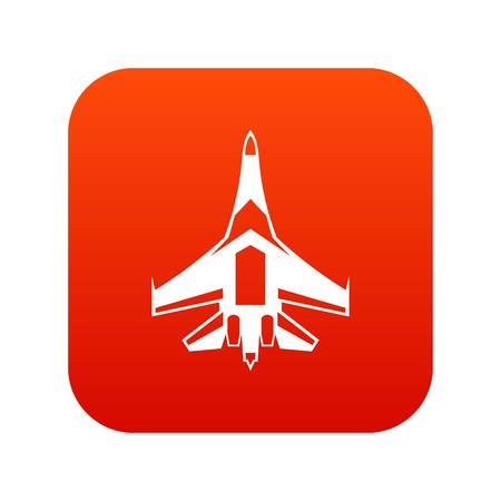 Jet fighter plane icon digital red for any design isolated on white vector illustration