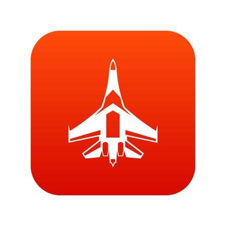 Straaljager vliegtuig pictogram digitaal rood voor elk ontwerp geïsoleerd op witte vectorillustratie Stock Illustratie
