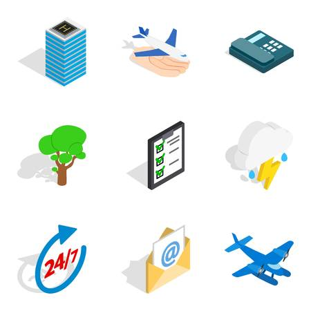Airport icons set. Isometric set of 9 airport vector icons for web isolated on white background Çizim