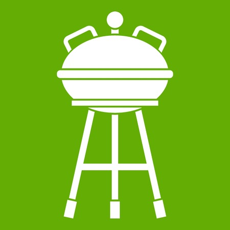 Kettle barbecue icon white isolated on green background. Vector illustration