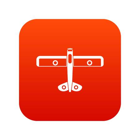 Military fighter plane icon digital red for any design isolated on white vector illustration Illustration