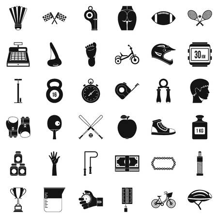 Kettlebell icons set. Simple style of 36 kettlebell vector icons for web isolated on white background