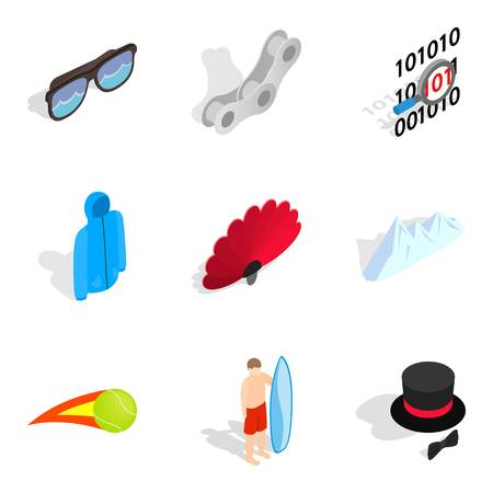 Amusement icons set. Isometric set of 9 amusement vector icons for web isolated on white background Illusztráció