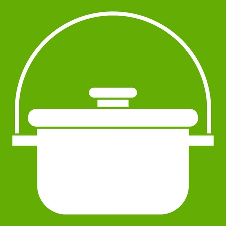 Cooking cauldron icon white isolated on green background. Vector illustration Illustration