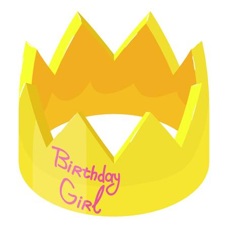 Crown birthday icon. Isometric illustration of crown birthday vector icon for web